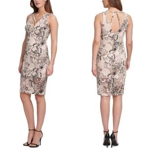 Marciano Floral Sequin Embroidered Mesh Dress